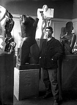 "Ossip Zadkine (1890-1967), Russian-born French sculptor, surrounded by hos works among which: the ""Cadran solaire"" (1929). Paris, around 1935. © Albert Harlingue/Roger-Viollet"