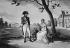 George Cruikshank after Isabey. Napoleon Bonaparte, First Consul, and his wife Josephine de Beauharnais, at the Château de la Malmaison (France). Engraving. © Roger-Viollet