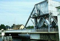 """The """"Pegasus-Bridge"""", on the canal of the Orne, near Bénouville (France), strategic point of the Normandy landings (on June 6, 1944). On 1994. © Alain Bonhoure / Roger-Viollet"""