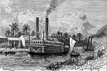 Auguste Lepère (1849-1918) and Gaston Vuillier (1847-1915). Steamship on the Magdalena, between Barranquilla and Honda (Colombia), in the time or Ferdinand de Lesseps, started the pourpalers first ones, for the realization of the Panama Canal in 1879. Engraving, 1880. © Roger-Viollet