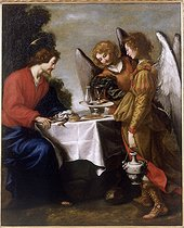 School of Jacopo Vignali (1592-1664). Jesus Christ served by two angels. Oil on canvas. Ajaccio (Corsica), Fesch museum. © Roger-Viollet