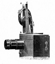 The camera of brothers Auguste and Louis Lumiere used as projector (film editing mode). Engraving by Poyet after their explanatory leaflet about cinematograph. Lyon, 1897. © Roger-Viollet