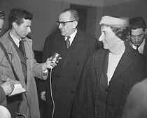 Guy Mollet (1905-1975), French Prime Minister, and Golda Meir (1898-1978), Israeli Foreign Minister, answering questions of journalists after their meeting. March 16, 1957.  © Roger-Viollet
