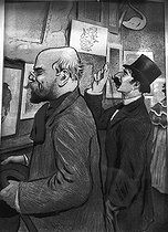 Paul Verlaine and Jean Moréas, French poets, at the Salon des Cent. Lithograph by F.A. Cazals (1865-1941).      © Roger-Viollet