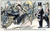 Loubet returning from a visit in Russia. Satirical cartoon of Emile Loubet (1838-1929), President of the French Republic. Humorous postcard before 1903. © Roger-Viollet