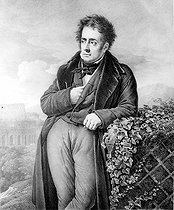 Jean-Baptiste Aubry-Lecomte (1787-1858) after Anne-Louis Girodet-Trioson (1767-1824). Portrait of François-René de Chateaubriand (1768-1848), French writer and politician. Engraving, 1823. French National Library. © Roger-Viollet