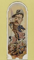 B. Moloch (1849-1909). Caricature of Theodore Roosevelt (1858-1919), 25th President of the United States. Lithograph.  © Roger-Viollet
