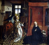 "Rogier van der Weyden (workshop). ""The Annunciation"" (central panel of a triptych), 1432-1435, from a lost work by Rogier van der Weyden (1399 or 1400-1464). Paris, Louvre museum. © Roger-Viollet"