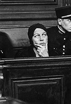 Nadezhda Vinikova (1883-1940), known as the Plevitskaya, Russian singer, General Skobline's wife, sentenced to twenty years of penal labour, for her involvement in the disappearance of General Evgeny Miller, during her trial. Paris, 1937. © Roger-Viollet