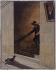 """Louis-Léopold Boilly (1761-1845). """"La descente de l'escalier"""". Huile sur papier, vers 1800. Paris, musée Cognacq-Jay.  © Musée Cognacq-Jay / Roger-Viollet"""