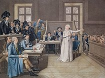REV127540. Marie Antoinette of Austria (1755-93) Judged by the Revolutionary Tribunal Court, 16th October 1793, engraved by Casenave, 1794 (engraving). REV127540 Marie Antoinette of Austria (1755-93) Judged by the Revolutionary Tribunal Court, 16th October 1793, engraved by Casenave, 1794 (engraving) by Bouillon, Pierre (1776-1831) (after); Musee de la Ville de Paris, Musee Carnavalet, Paris, France; French, out of copyright ©TCDL / The Image Works. © TCDL / The Image Works / Roger-Viollet