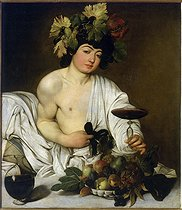 """Bacchus"". 1597, by Il Caravaggio (c.1571-1610). Florence, Uffizi Gallery. © Roger-Viollet"