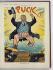 """Theodore Roosevelt (1858-1919), homme d'Etat américain, tel un géant gagnant la terre à grands pas, vêtu du costume de l'Oncle Sam, aux couleurs de la bannière étoilée, sous les acclamations de ses supporters. Caricature extraite de """"Puck"""", 15 juin 1910. © The Image Works / Roger-Viollet"""