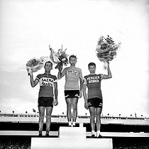 1962 Tour de France. From left to right: Joseph Planckaert (2nd), Jacques Anquetil (1st) and Raymond Poulidor (3-rd). © Roger-Viollet