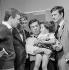 """""""Ce soir ou jamais"""", film by Michel Deville. Claude Rich, Michel de Ré, Guy Bedos and Georges Descrières. France, 1961. © Alain Adler / Roger-Viollet"""