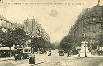 The boulevard Saint-Germain and the statue of Claude Chappe. Paris (VIth arrondissement). Postcard, circa 1900. © Roger-Viollet