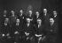 The editorial staff of the Dernières Nouvelles. Group with Milioukov. Paris, around 1925. © Pierre Choumoff/Roger-Viollet