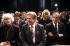 Vaclav Havel (1936-2011), homme d'Etat et écrivain tchécoslovaque, et Elie Wiesel (1928-2016), écrivain américain d'origine roumaine. New York (Etats-Unis), 4 octobre 2003.  © Les Stone / The Image Works / Roger-Viollet
