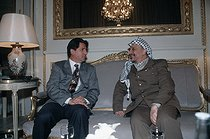 Amine Gemayel (born in 1942), Lebanese statesman, and Yasser Arafat (1929-2004), head of the Palestine Liberation Organization. Paris, October 1993. © Françoise Demulder / Roger-Viollet