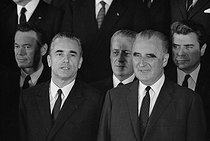 Members of Jacques Chaban-Delmas's Cabinet. From left to right : Albin Chalandon, J. Chaban-Delmas, Georges Pompidou, president of the French Republic and Jacques Duhamel. France, on June 23, 1969. © Jacques Cuinières / Roger-Viollet