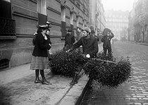 Mistletoe seller in the street. Paris, circa 1900. © Jacques Boyer/Roger-Viollet