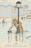 """Inondations de 1910 à Paris. Carte postale dessinée par A. Sauvage : La crue. Dupochard. """"D'un côté, c'est chouette, la crue ! On n'a pas besoin de se baisser pour ramasser son chapeau"""". © Roger-Viollet"""