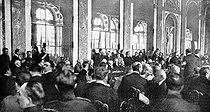 Signing of the Treaty of Versailles in the chateau's Hall of Mirrors. June 28, 1919. © Roger-Viollet