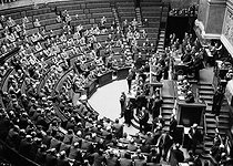 Speech by Camille Chautemps (1885-1963), French politician, at the Chamber of Deputies. On the right : Edouard Herriot (1872-1957) presiding at the session. Paris, 1937-1938. © LAPI / Roger-Viollet