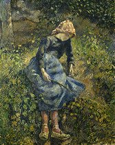 Camille Pissarro (1830-1903). Young girl with a stick, 1881. Paris, musée d'Orsay.  © Roger-Viollet