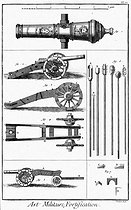 "Art of war. 24 cannon with spherical tube known as a Spanish cannon, cannon on its chassis, instruments used to load the cannon,  trunnions. Engraving by Bénard from Diderot's ""Encyclopedia "" (18th century). © Roger-Viollet"