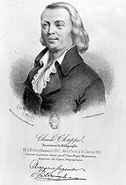 Claude Chappe (1763-1805), French engineer, inventor of aerial telegraph. Lithograph by Kaeppelin after a drawing by Alphonse Farcy. Paris, French National Library, department of prints. © Roger-Viollet
