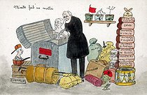 """""""Mimile fait ses malles"""" (Emile is packing). Satirical cartoon about the departure from the government of Emile Loubet (1838-1929), French statesman. Humorous postcard. © Roger-Viollet"""