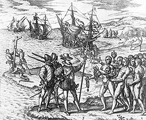 Theodor de Bry (1528-1598). Christopher Columbus landing in America is greeted by the natives, and plants the cross on the coast, 1492. Engraving printed in Frankfort (Germany), 1594. French National Library. © Roger-Viollet