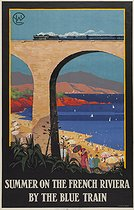 "Charles Jean Hallo (1882-1969). Affiche pour ""Summer on the french Riviera by the Blue train"". Editeur : Lucien Serre & Cie. , 1920. Paris, Bibliothèque Forney. © Bibliothèque Forney / Roger-Viollet"