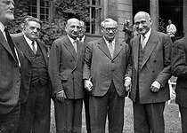 First meeting of the Council of Europe. On the left: Edouard Herriot, president of the session. On the right: Robert Schuman and Ernest Bevin, English Secretary of State. Strasbourg (France), August 1949. © Roger-Viollet