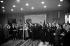 Nikita Khrouchtchev à Paris. A ses côtés : Michel Debré. A droite : J. Chaban-Delmas et M. Couve de Murville. A gauche : A. Gromyko. 1960. © Roger-Viollet