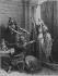 Frédégonde (545-597), troisième femme de Chilpéric Ier, roi des Francs de Neustrie, et ses sicaires. Gravure XIXème siècle.      © Roger-Viollet