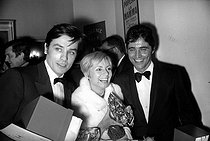 Alain Delon (born in 1935), French actor, Annie Cordy (born in 1928), Belgian actress and singer, and Sacha Distel (1933-2004), French actor and singer. Paris, 1967 © Noa / Roger-Viollet