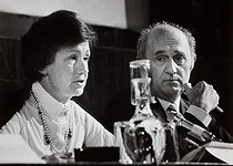 "Lucien Neuwirth (1924-2013), instigator of the law authorizing oral contraception in 1967. At the rostrum at the international colloquium ""Donner la vie, la liberté des libertés"" (Give birth, the greatest freedom ever). UNESCO. Paris, October 1979. Photograph by Janine Niepce (1921-2007). © Janine Niepce/Roger-Viollet"