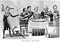"""""""L'auteur affamé"""". Caricature about Francois-René de Chateaubriand (1768-1848), French writer and politician, rallying the Bourbons. Engraving, French National Library. © Roger-Viollet"""