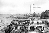The funeral of François-René de Chateaubriand (1768-1848), French writer and politician, on the Grand-Bé rock. Saint-Malo (France), on July 19, 1848. Lithograph by A. Cuvillier and Jules Gaildrau after a drawing by F. Benoist. © Roger-Viollet