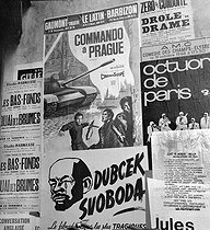 Political poster against the occupation of Czechoslovakia by the Soviet troops and film poster. Paris, October 1968. © Roger-Viollet