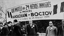 World War II. Rally for the immortal glory of 24 heroes who were executed by the German army after the trial of the Manouchian-Boczov group, formed by communist resistance fighters immigrants, February 1944. © Archives Manouchian / Roger-Viollet