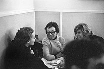 Romy Schneider (1938-1982), Austrian actress, Marguerite Duras (1914-1996), French writer, and Melina Mercouri (1920-1994), Greek actress and politician. © Roger-Viollet