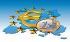 Symbole de l'euro et pièce d'un euro sur une carte de l'Europe, 2001. © Ullstein Bild/Roger-Viollet
