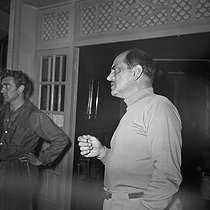 "Luis Buñuel (1900-1983), Spanish director, during the shooting of his film ""Cela s'appelle l'aurore"", from a novel by Emmanuel Roblès. France-Italy, on September 28, 1955. © Alain Adler / Roger-Viollet"