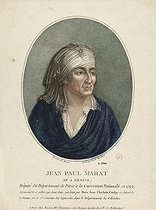 Citizen Montaland and Claude-Louis Desrais. Portrait of Jean-Paul Marat, French politician and deputy of Paris at the French National Convention in 1792. Etching. Paris, musée Carnavalet. © Musée Carnavalet / Roger-Viollet