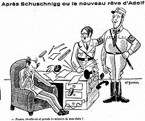 """After Schuschnigg or the new dream of Adolf"". Satirical cartoon about Camille Chautemps, Adolf Hitler and Kurt von Schuschnigg, about the international policy after the Anschluss (1938). © Roger-Viollet"