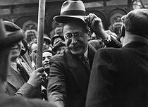 Léon Blum (1872-1950), French politician, attending a rally at the Communards' Wall. Paris, circa 1936. © Roger-Viollet