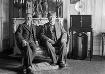 Georges Clemenceau (1841-1929), French statesman, in his house with his son Michel (1873-1964), French businessman and politician. Saint-Vincent-sur-Jard (France), circa 1925. © Henri Martinie / Roger-Viollet